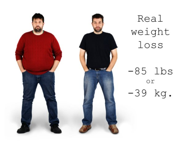 man weight loss before after